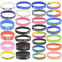 Unisex Medical ECG Autism LGBT Pride Silicone Rubber Bracelet Bangle Jewelry DIY