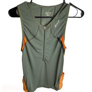 Zoot Sleeveless Cycling Triathlon Shirt Jersey Pockets Womens Large Gray Orange