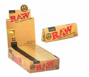 Raw Unrefined Classic 1.25 1 1/4 Size Cigarette Rolling Papers Standard Regular