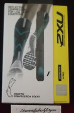 Womens 2XU Hyoptik Compression Socks Dark Grey Green WA3576E Size XS