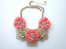 Large CORAL CHIFFON FLOWERS with RHINESTONE Centers & Goldtone LEAF NECKLACE