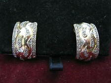 "14K Yellow Gold 1/2"" Wide PAISLEY EARRINGS w/ 64 DIAMONDS & French Safety Posts"