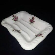 Vintage porcelain Athena Soap Dish Holder Floral Design Made in USA 1 of 2