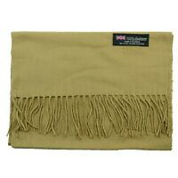 Men's 100% CASHMERE Warm PLAIN Scarf pure solid Beige Wool MADE IN SCOTLAND