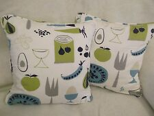 CARROTS AND PEAS  BY SCION 1 PAIR 18 INCH  CUSHION COVERS PIPED AND DOUBLE SIDED