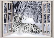 SIBERIAN TIGER LION WINTER SNOW WINDOW WALL STICKER LOUNGE BEDROOM GIRLS BOYS
