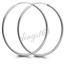 Ladies 925 Sterling Silver 55mm/2.1 inch Large 1.5mm Thin Hoop Earrings H583