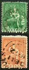 BARBADOS SG56/7 Clean Cut Perfs 11 to 13.5 x 14.5 to 15.5 Set of 2 Cat 175
