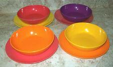 New listing Melamine, 4 Bowls, 4 Plates, Pink ,Orange, Purple,Yellow Bright
