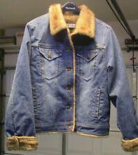 Marvin Richards Coat Jacket Large Denim Faux Fur Lined Vegan Button Down
