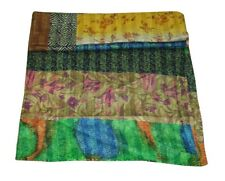 designed patchwork bed cover is made Vintage Sarri Fabric Silk Bedspread Quilt