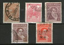 Argentina - 5 Stamps from old Album/ Collection inc 1 O/P - Used