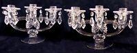 Pr Fostoria Elegant Glass Crystal 3-light Candelabra Prism Bobeches Candleholder