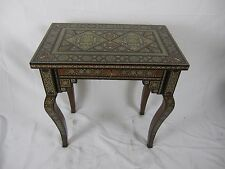 Very Old Wooden Hand Made Mosaic Side Table Inlay With Mother Of Pearl & Bone