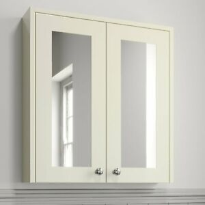 600mm Traditional Ivory Bathroom Mirror Cabinet Storage Cupboard Wall Mounted