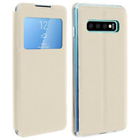 Window flip case, flip wallet case with stand for Samsung Galaxy S10 Plus - Gold