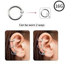 Ear Cartilage Hoop Surgical Steel Omni Bead Ring Daith Helix 2 Way Cross 16G