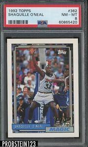 1992 Topps #362 Shaquille O'Neal Orlando Magic RC Rookie HOF PSA 8 NM-MT
