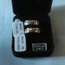 40. STERLING DIAMONIQUE MATCHING RINGS, S.6, NEW, QVC-NICE!!