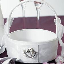Classic Double Heart White Wedding Flower Girl Basket