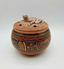 Vintage Glazed Ceramic Art Pottery Vase Lizard Signed Gerardo Campos Costa Rica