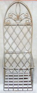 """Antique Wrought Iron Hanging Wall Basket Square Planter With Arch 24"""""""