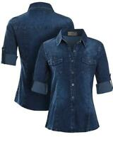 Womens Denim Stretch Shirt Ladies Indigo Jean Shirts Size 10 12 14 16 New