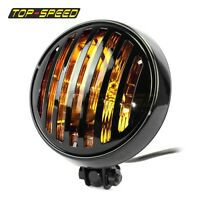 "For Harley Bobber Chopper Amber Lens 5 3/4"" Retro Style Grill Prison Headlight"