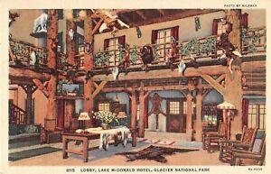 Glacier National Park postcard Lake McDonald Hotel Lobby