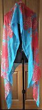 NEW JOYCE Acqua blue/Red Floral Print Silk Shawl