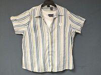Basic Editions Womens 2 Pc Set Plus size 1x 2x 3x Blue Pink Camp Shirt Tank Top