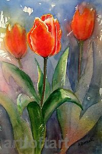 3 Tulips  FLOWER ART ACEO Card  Print by A Borcuk