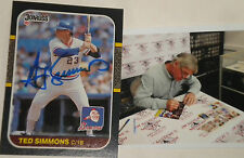 Ted Simmons Atlanta Braves Signed Autographed 1987 Donruss Card