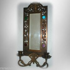 Vintage metal mirror- faceted stones and candle holder FREE SHIPPING