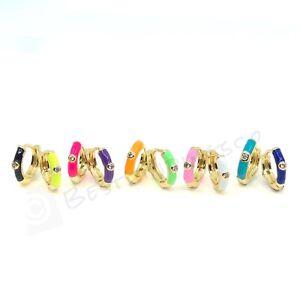 18K Gold Plated Enamel Earrings • Neon Color Enamel Earrings • Small Huggie Hoop