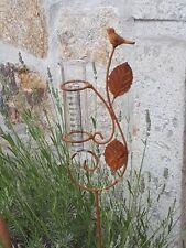 Regenmesser Metall Gartendeko Beetstecker Metall Edelrost Optik Glas 10133 Vogel
