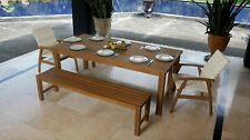 Teak Outdoor 3 Piece Bench seat dining set available in 5 sizes
