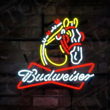 "19""x15""Budweiser Clydesdale Neon Sign Light Beer Bar Pub Wall Poster Room Decor"