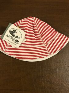 San Diego Hat Co Unisex Baby 0-12 M Red & White Stripe Bucket Hat w/ Chin Strap