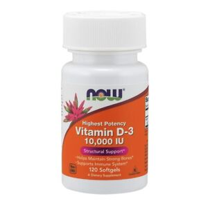 NOW Vitamin D-3 10,000 IU 120 Softgels Supports Bone Health FRESH, Made In USA