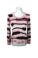 MILLY New York Women's Size S Pullover Cable Knit Sweater Ribbed Hem Pink Black