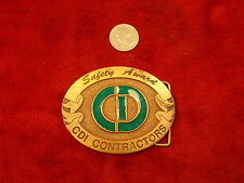 "COOL SOLID BRASS MEN'S BELT BUCKLE, MADE BY ""HIT, USA"" FOR CDI CONTRACTORS AWARD"