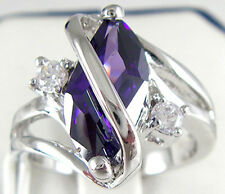 Women's Fashion Silver Marquise Cut Amethyst Ring Engagement Wedding Jewelry New