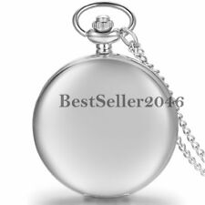 Retro Glossy Smooth Digital Dial Quartz Pocket Watch Pendant Necklace Chain Gift