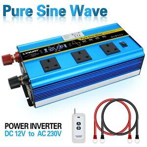 Power Inverter 12V To 230V Pure Sine Wave 2500W/5000W LCD Display UK Socket Boat