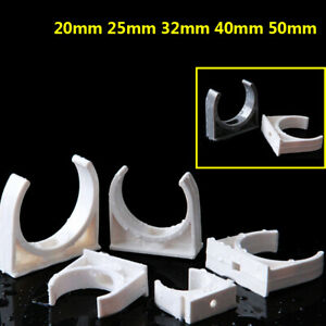 20mm 25mm 32mm 40mm 50mm PVC Pipe Clips Clamp Support Holder Fixed White Gray