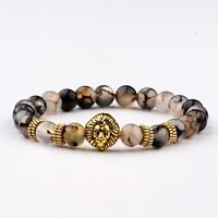 8MM Fashion Men's Natural Lave Stone Gold Lion Beaded Charm Lucky Bracelets Gift