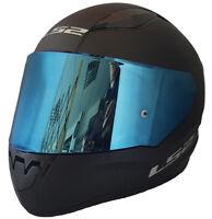 LS2 FULL FACE MOTORCYCLE CRASH HELMET MATT BLACK WITH BLUE IRIDIUM TINTED VISOR