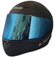 LS2 FULL FACE MOTORCYCLE CRASH HELMET MATT BLACK WITH BLUE IRIDIUM TINTED VISOR