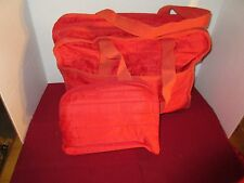 Bright Red Nylon Overnight Tote w/ 3 small Pouches Inside, Never Used